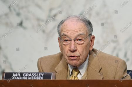 Ranking Member Chuck Grassley, R-IA, speaks as FBI Director Christopher Wray testifies before the Senate Judiciary Committee on the January 6th insurrection, in the Hart Senate Office Building on Capitol Hill in Washington, DC, USA, on 02 March 2021.