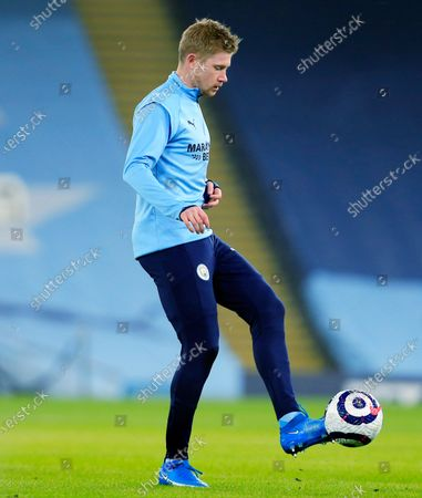 Stock Image of Kevin De Bruyne of Manchester City warms up ahead of the game