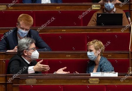 Adrien Quatennens, Jean-Luc Melenchon and Clementine Autain during the weekly session of questions to the government at the French National Assembly.