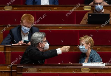 Stock Image of Adrien Quatennens, Jean-Luc Melenchon and Clementine Autain during the weekly session of questions to the government at the French National Assembly.