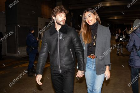 Stefano De Martino and Belen Rodriguez attends the Marcelo Burlon fashion show during Milan Men's Fashion Week Fall/Winter 2020/2021 on January 11, 2020 in Milan, Italy