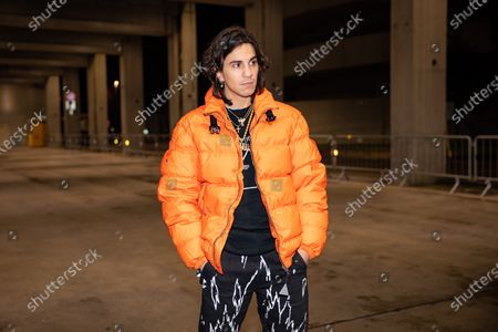 Tedua attends the Marcelo Burlon fashion show during Milan Men's Fashion Week Fall/Winter 2020/2021 on January 11, 2020 in Milan, Italy
