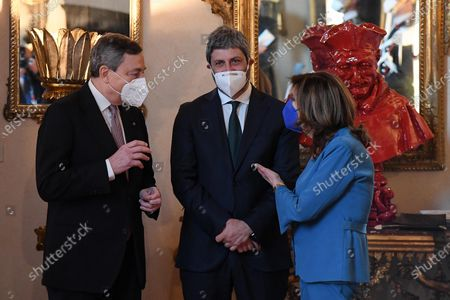 Italian Prime Minister Mario Draghi (L),  Roberto Fico (C), President of Chamber of Deputies and Elisabetta Casellati (R), President of Senate, arrive at Palazzo Borromeo for the 92th anniversary of Lateran Treaty, in Rome, Italy, 02 March 2021.