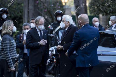 Italian President Sergio Mattarella (C) arrives at Palazzo Borromeo for the 92th anniversary of Lateran Treaty, in Rome, Italy, 02 March 2021.