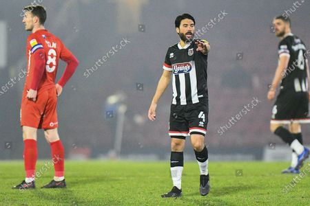 Stock Picture of /Danny Rose (4) of Grimsby Town giving instructions during the EFL Sky Bet League 2 match between Grimsby Town FC and Leyton Orient at Blundell Park, Grimsby