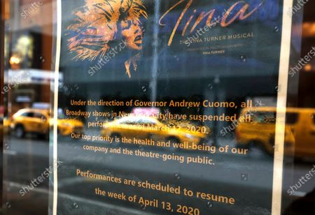 A notification that Broadway productions have been suspended on March 12, 2020 in New York City. Amid the COVID19 (coronavirus) concerns and a ban on groups of 500 of people, a directive issued by New York State Andrew Cuomo, all of Broadway performances have been closed until April 12, 2020. President Charlotte St. Martin of the Broadway League issued statement stating that Broadway is committed to enrich and foster enrichment and to inspire all the while entertain its visitors. Additionally, the league is committed to protect all those who work in the industry.