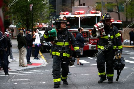 Editorial picture of New York Fire Department And Emergency Services At A High-rise, United States - 23 Apr 2020