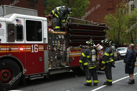 Editorial image of New York Fire Department And Emergency Services At A High-rise, United States - 23 Apr 2020