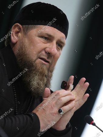 Chechnya's regional leader Ramzan Kadyrov gestures while speaking to local muftis and urged them to persuade residents of the region to get vaccinated against the coronavirus in Grozny, Russia