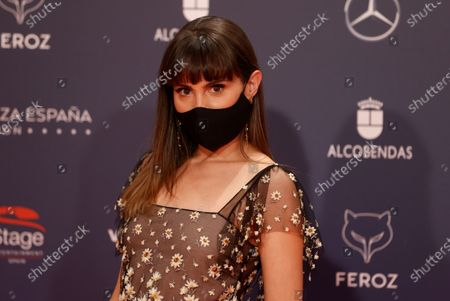 Veronica Echegui poses on the red carpet during the 8th Feroz Awards gala at the Coliseum Theater in Madrid, Spain, 02 March 2021. The award handout ceremony acknowledges prominent works in Spanish cinema and television productions.