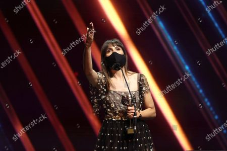 Veronica Echegui reacts after receiving the 'Best supporting actress' award during the 8th Feroz Awards gala at the Coliseum Theater in Madrid, Spain, 02 March 2021. The award handout ceremony acknowledges prominent works in Spanish cinema and television productions.