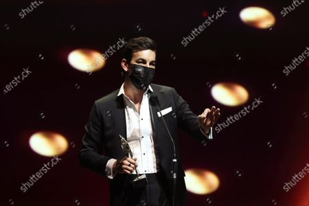 Mario Casas receives the 'Best Leading Actor in a Movie' award during the 8th Feroz Awards gala at the Coliseum Theater in Madrid, Spain, 02 March 2021. The award handout ceremony acknowledges prominent works in Spanish cinema and television productions.