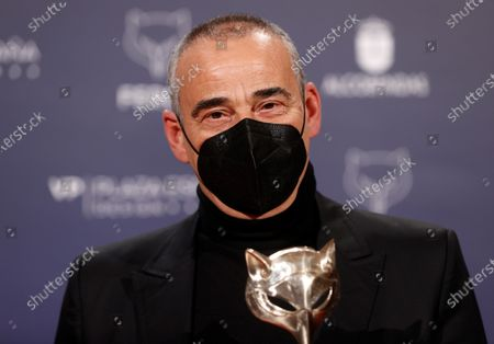 Eduard Fernandez poses with the 'Best Leading Actor in a TV Series' award during the 8th Feroz Awards gala at the Coliseum Theater in Madrid, Spain, 02 March 2021. The award handout ceremony acknowledges prominent works in Spanish cinema and television productions.