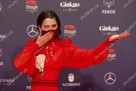 Macarena Gomez poses on the red carpet during the 8th Feroz Awards gala at the Coliseum Theater in Madrid, Spain, 02 March 2021. The award handout ceremony acknowledges prominent works in Spanish cinema and television productions.