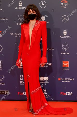 Eva Ugarte poses on the red carpet during the 8th Feroz Awards gala at the Coliseum Theater in Madrid, Spain, 02 March 2021. The award handout ceremony acknowledges prominent works in Spanish cinema and television productions.