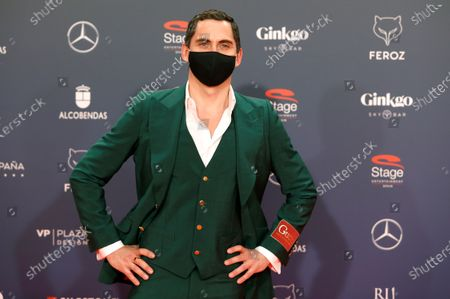 Stock Picture of Paco Leon poses on the red carpet during the 8th Feroz Awards gala at the Coliseum Theater in Madrid, Spain, 02 March 2021. The award handout ceremony acknowledges prominent works in Spanish cinema and television productions.