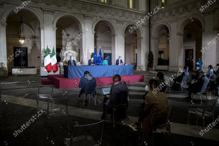 Editorial picture of press conference on new measures of the DPCM at Chigi Palace, Rome, Italy - 02 Mar 2021