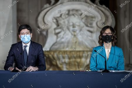 Stock Picture of Italian Minister of Health Roberto Speranza with Italian Minister of Regional Affairs, Maria Stella Gelmini, attend a press conference to illustrate the new measures of the Dpcm (Decree of the President of the Council of Ministers) on the epidemiological emergency from Coronavirus Covid-19 at Chigi Palace in Rome, Italy, 02 March 2021.