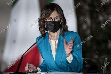 Maria Stella Gelmini attends a press conference to illustrate the new measures of the Dpcm (Decree of the President of the Council of Ministers) on the epidemiological emergency from Coronavirus Covid-19 at Chigi Palace in Rome, Italy, 02 March 2021.