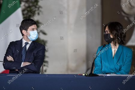 Roberto Speranza (L) and Maria Stella Gelmini (R) attend a press conference to illustrate the new measures of the Dpcm (Decree of the President of the Council of Ministers) on the epidemiological emergency from Coronavirus Covid-19 at Chigi Palace in Rome, Italy, 02 March 2021.
