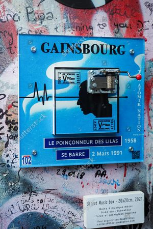 """Stock Picture of The house of French singer Serge Gainsbourg """"l'homme a la tete de chou"""" covered with graffitis and street art on the wall of his home on the occasion of the 30th anniversary of the artist's death on March 02, 2021 in Paris, France. The singer and poet Serge Gainsbourg died on March 02, 1991, his daughter Charlotte Gainsbourg will open her house on rue de Verneuil to the public this year, which will make it a museum and a real place of pilgrimage for her fans."""