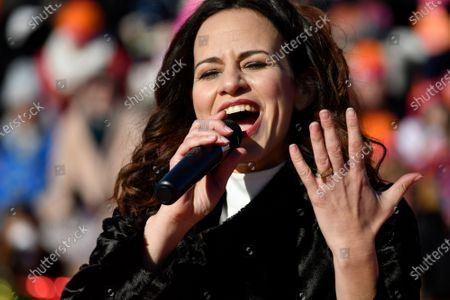 Mandy Gonzalez performs during the live broadcast of the 99th 6ABC/Dunkin' Donuts Annual Thanksgiving Day parade, at the Art Museum Steps, in Philadelphia, PA, on November 22, 2018. The annual parade on Benjamin Franklin Parkway is the oldest in the nation.