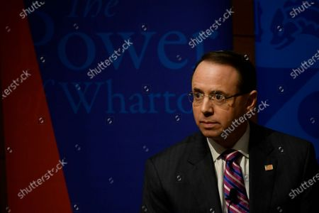Deputy Attorney General Rod Rosenstein delivers remarks at Warton School of the University or Pennsylvania, in Philadelphia, PA, USA, on February 21, 2019. In the Trump administration Deputy Attorney General Rosenstein served under Attorney Generals Jeff Sessions, Matthew Whitaker (acting), and most recently William Barr.