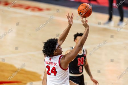 Rutgers guard Ron Harper Jr. (24) makes a jumpshot against Nebraska in the second half during an NCAA college basketball game, in Lincoln, Neb