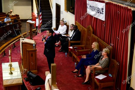 Congressional delegation representing Southeastern Pennsylvania reacts to pre-submitted questions during an event hosted by Indivisible Philadelphia at Tindley Temple, in South Philadelphia, PA on April 24, 2019.