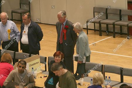 Oldham West and Royton Candidate Michael Meacher looks over the counting of the votes