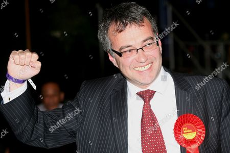 Stock Picture of Phil Woolas MP  Punches the air after retaining Oldham East and Saddleworth after 3 re-counts