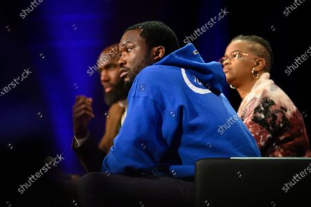 Players Coalition Co-Founder and Philadelphia Eagles player Malcom Jenkins and American rapper and REFORM Alliance Co-Chair Meek MillParticipate in a Town hall on the future of policing in the city of Philadelphia at Community College of Philadelphia, PA, on October 28 2019.