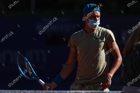 Stock Picture of Danish Holger Vitus Nodskov reacts during a first round tennis match, between Spanish Albert Ramos and Danish Holger Vitus, from ATP250 in Buenos Aires, Argentina, 02 March 2021.