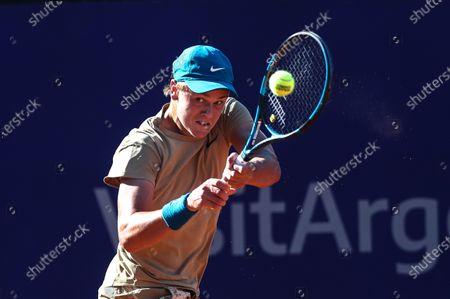 Danish Holger Vitus Nodskov in action against Spanish Albert Ramos during a first round tennis match, between Spanish Albert Ramos and Danish Holger Vitus, from ATP250 in Buenos Aires, Argentina, 02 March 2021.