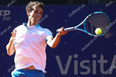 Stock Image of Spanish Albert Ramos in action against Danish Holger Vitus Nodskov during a first round tennis match, between Spanish Albert Ramos and Danish Holger Vitus, from ATP250 in Buenos Aires, Argentina, 02 March 2021.
