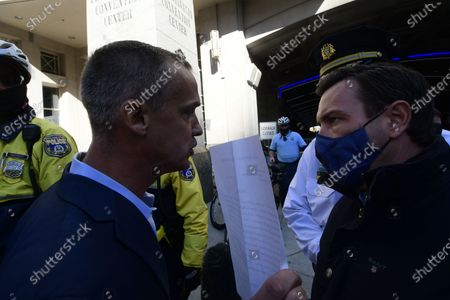 Stock Picture of Corey Lewandowski and Pam Bondi, representing the Trump campaign attempt to acces the ballot count facilities at the a Pennsylvania Convention Center in Philadelphia, PA on November 5, 2020.