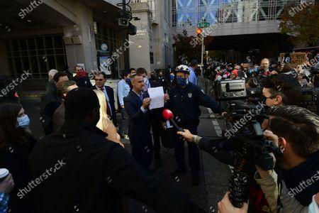 Corey Lewandowski and Pam Bondi, representing the Trump campaign attempt to acces the ballot count facilities at the a Pennsylvania Convention Center in Philadelphia, PA on November 5, 2020.