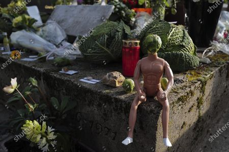 """Cabbage head man decorates the grave of late French musician, song writer and singer Serge Gainsbourg at Montparnasse cemetery in Paris, France, . Three decades after his death, Gainsbourg's music has reached legendary stature in France, and he has also gained a cult following in the English-speaking world with chart success in the United Kingdom and the United States with """"Je t'aime... moi non plus"""" and """"Bonnie and Clyde"""", respectively"""