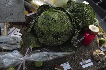 """Cabbages and subway tickets decorate the grave of late French musician, song writer and singer Serge Gainsbourg at Montparnasse cemetery in Paris, France, . Three decades after his death, Gainsbourg's music has reached legendary stature in France, and he has also gained a cult following in the English-speaking world with chart success in the United Kingdom and the United States with """"Je t'aime... moi non plus"""" and """"Bonnie and Clyde"""", respectively"""