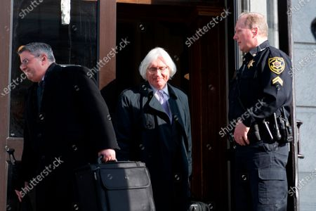 Bill Cosby's Defense team, including attorneys Thomas Mesereau and Kathleen Bliss, depart after a March 29, 2018 pre-trial hearing at Montgomery County Courthouse, in Norristown, PA. After the 2017 mistrial the American actor/entertainer is scheduled to return to court for the new sexual assault trial.