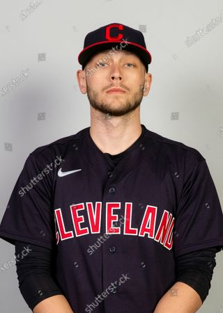 This is a 2021 photo of Cam Hill of the Cleveland Indians baseball team. This image reflects the Cleveland Indians active roster as of when this image was taken