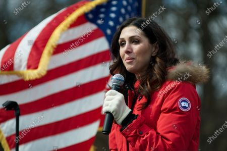 Stock Image of Erin Elmore speaks on stage during a Pro-Trump rally, hosted by People4Trump, in Bensalem, PA, on March 4th, 2017.