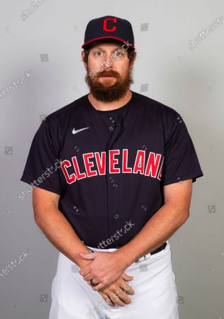 Stock Picture of This is a 2021 photo of Brian Shaw of the Cleveland Indians baseball team. This image reflects the Cleveland Indians active roster as of when this image was taken