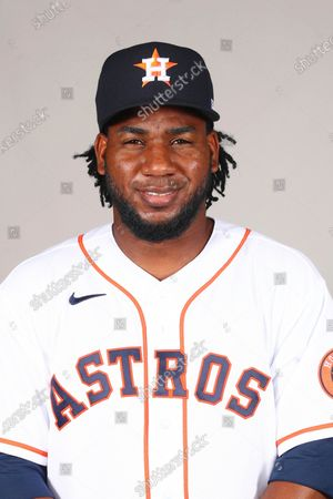 Stock Picture of This is a 2021 photo of Pedro Baez of the Houston Astros baseball team. This image reflects the Houston Astros active roster as of when this image was taken