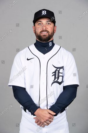 This is a 2021 photo of Greg Garcia of the Detroit Tigers baseball team. This image reflects the Detroit Tigers active roster as of when this image was taken