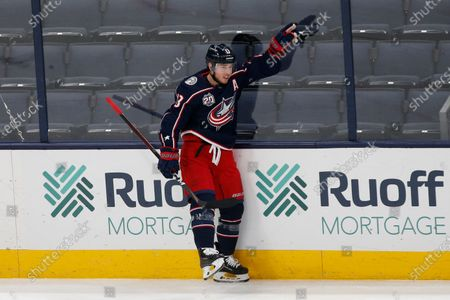 Stock Image of Columbus Blue Jackets' Cam Atkinson celebrates his goal against the Detroit Red Wings during the first period of an NHL hockey game, in Columbus, Ohio