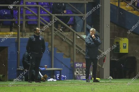 Barrow's caretaker manager Rob Kelly and Sam Hird  during the Sky Bet League 2 match between Barrow and Harrogate Town at the Holker Street, Barrow-in-Furness on Tuesday 2nd March 2021.