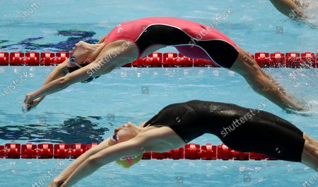 Shows the United States' Regan Smith starting the backstroke leg in the women's 4x100m medley relay final at the World Swimming Championships in Gwangju, South Korea. Katie Ledecky is among several big names diving back in with three months to go until the U.S. Olympic trials. Caeleb Dressel, Simone Manuel, double backstroke world-record holder Smith, and Ryan Lochte will swim over four days in the first single-site American meet since the pandemic began
