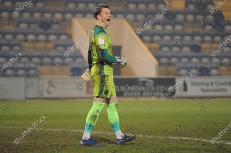Stock Photo of Carlisles Paul Farman shouts at his teammates during the Sky Bet League 2 match between Colchester United and Carlisle United at the Weston Homes Community Stadium, Colchester on Tuesday 2nd March 2021.