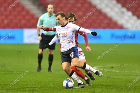 Kiernan Dewsbury-Hall of Luton Town shields the ball from James Garner (37) of Nottingham Forest during the Sky Bet Championship match between Nottingham Forest and Luton Town at the City Ground, Nottingham on Tuesday 2nd March 2021.